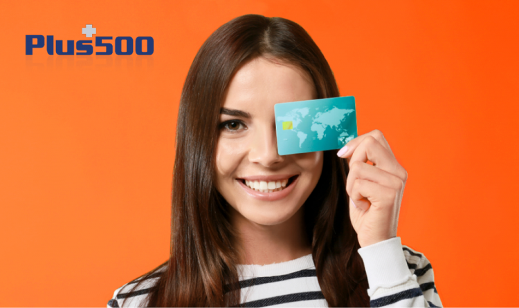 girl with credit card using Local currencies and plus 500 logo